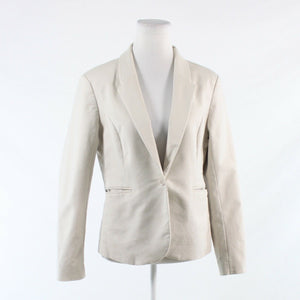Light beige cotton blend KATHERINE BARCLAY long sleeve blazer jacket L