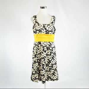 Black white floral print DONNA RICCO sleeveless A-line dress 14-Newish