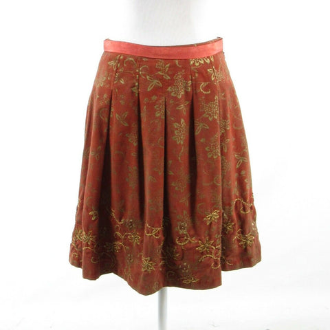 Dark orange gold floral print 100% cotton YOANA BARASCHI pleated skirt 4
