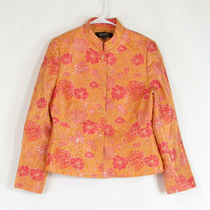 Light orange pink floral print KASPER blazer jacket 10