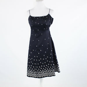 Navy blue silver polka dot 100% cotton ANN TAYLOR spaghetti strap dress 0