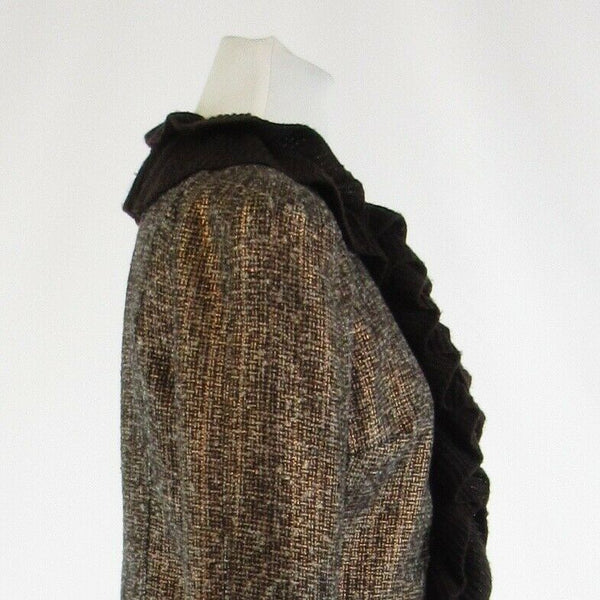 Metallic gold brown tweed MAGASCHONI bell sleeve jacket 8-Newish