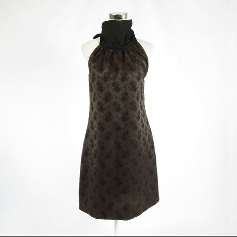 Brown black floral print wool BILLY REID halter neck sheath dress 6-Newish