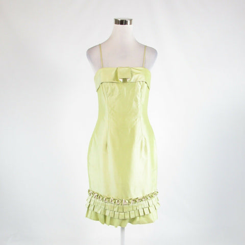 Light green Thai silk MARISA BARATELLI spaghetti strap sheath dress 6