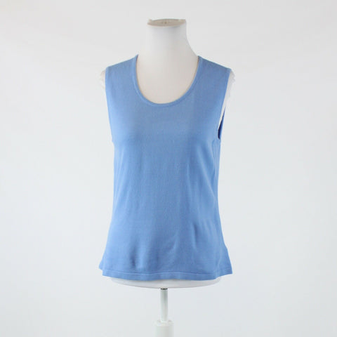 Blue KASPER sleeveless scoop neck sweater L