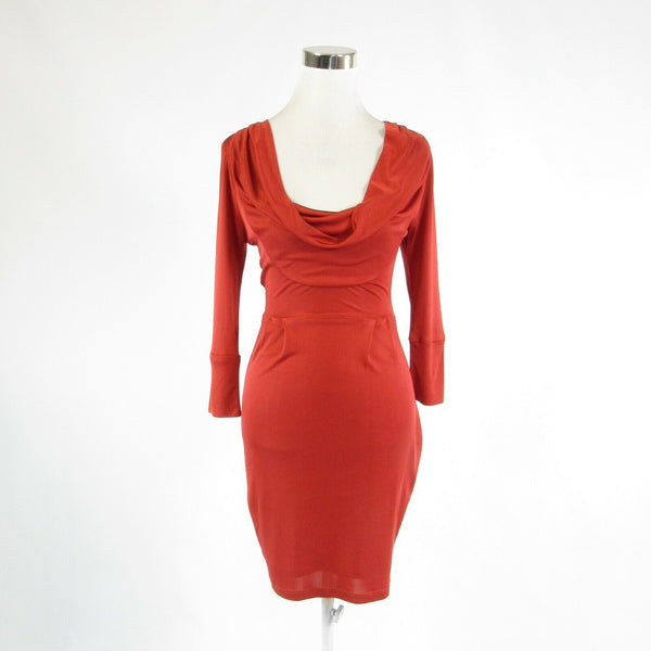 Dark orange silk blend DOLAN stretch 3/4 sleeve sheath dress XS