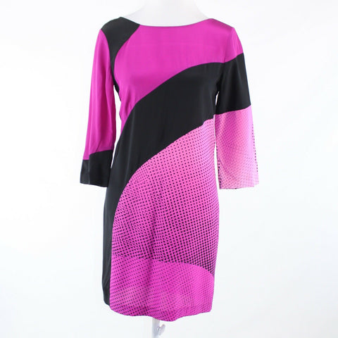 Bright pink black color block DIANE VON FURSTENBERG shift dress 2 NWT $445.00