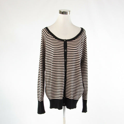 Black beige striped LANE BRYANT shimmery long sleeve cardigan sweater 18 20