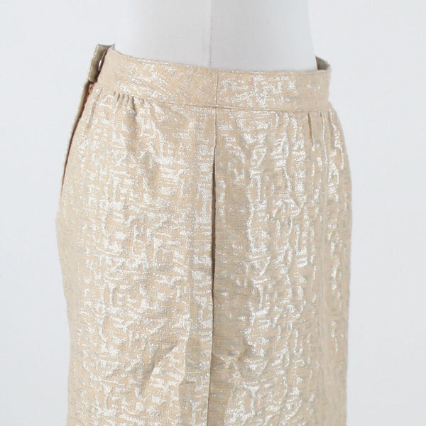 Light beige silver geometric ANN TAYLOR LOFT A-Line shimmery above knee skirt 4P-Newish