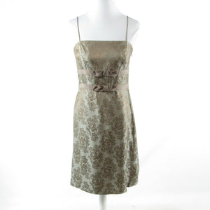 Olive green gold floral print ANN TAYLOR spaghetti strap A-line dress 6P