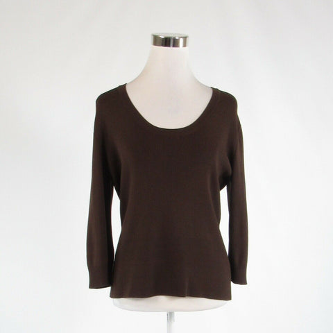 Brown JOSEPH A. stretch 3/4 sleeve knit blouse XL-Newish