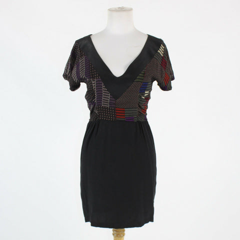 Black purple & red geometric 100% silk RICHARD RUIZ short sleeve V-neck dress S-Newish