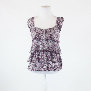 Mauve purple white paisley EXPRESS thin strap scoop neck tiered blouse S