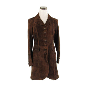Brown suede leather long sleeve vintage peacoat S-Newish