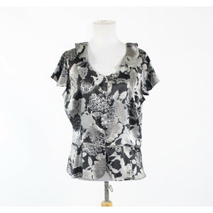 Black gray floral satin WORTHINGTON shortsleeve buttondown drop waist blouse PXL-Newish