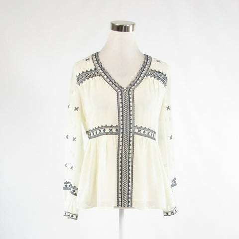 Cream blue MAETTE embroidered trim sheer overlay long sleeve blouse XS
