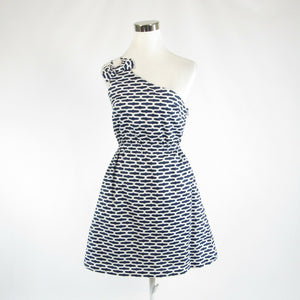 Navy blue white geometric cotton blend ELLEN and OLLIE one shoulder dress 4