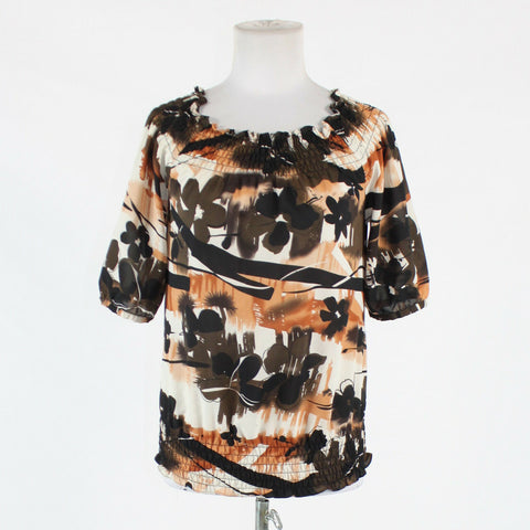 Ivory brown & black floral THE LIMITED short sleeve scoop neck stretch blouse S-Newish
