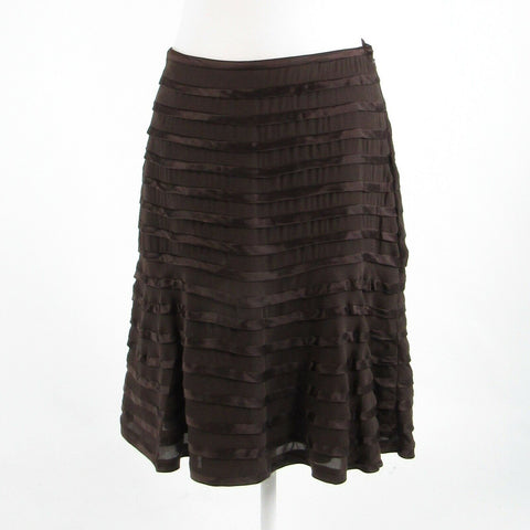 Brown 100% silk CARMEN MARC VALVO sheer overlay tiered skirt 8