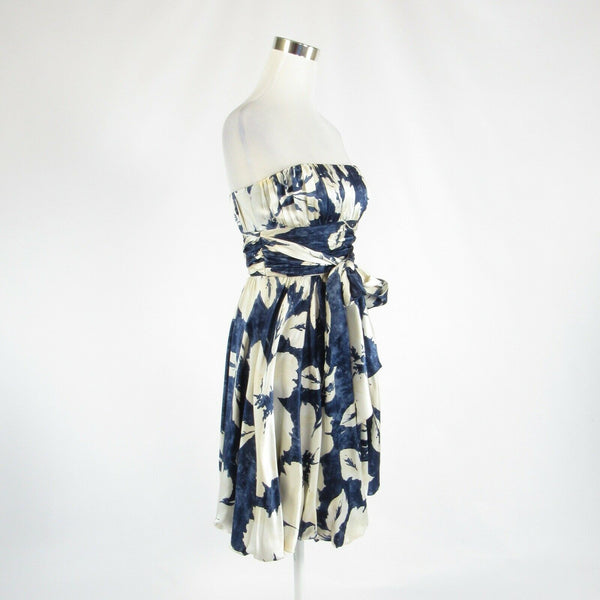 Navy blue ivory floral print 100% silk BCBG MAX AZRIA strapless bubble dress 2-Newish