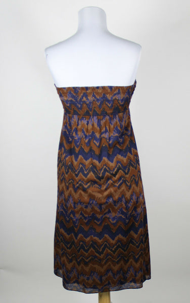 BANANA REPUBLIC brown blue geometric 100% cotton strapless knee-length dress 2-Newish