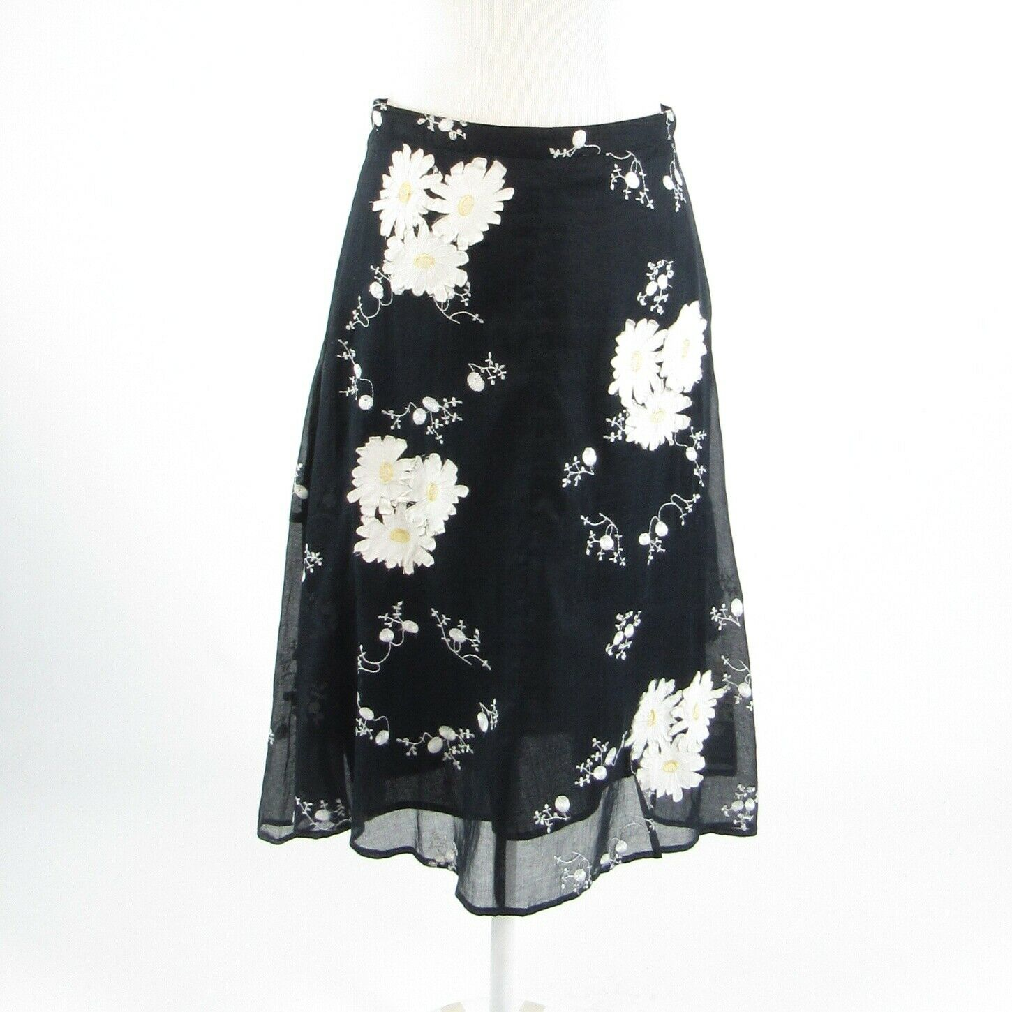 Black white floral print cotton blend PERSAMAN NEW YORK A-line skirt 4