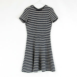 Navy blue gray textured striped cotton blend THEORY stretch knit A-line dress S