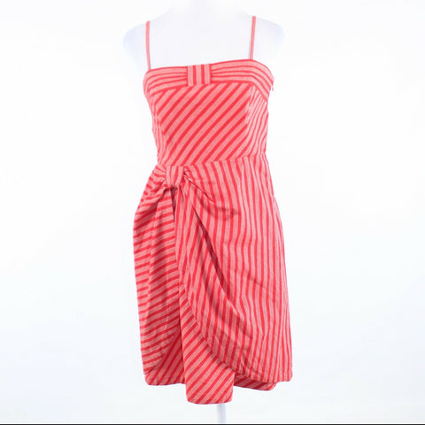 Pink red striped 100% cotton LIL spaghetti strap sun dress 8-Newish