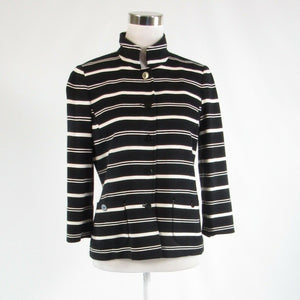 Black white striped NINA MCLEMORE stretch 3/4 sleeve jacket 4
