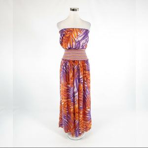 Goldenrod yellow purple leaves 100% silk BCBG MAX AZRIA sleeveless maxi dress XS