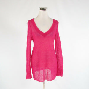 Fuchsia pink CHARLIE and ROBIN long sleeve V-neck crochet knit sweater M
