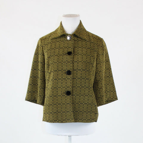 Dark brown and olive green geometric COLDWATER CREEK textured jacket XS