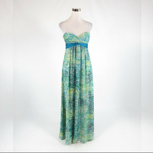 Teal blue green abstract silk blend BCBG MAX AZRIA sleeveless maxi dress 2-Newish