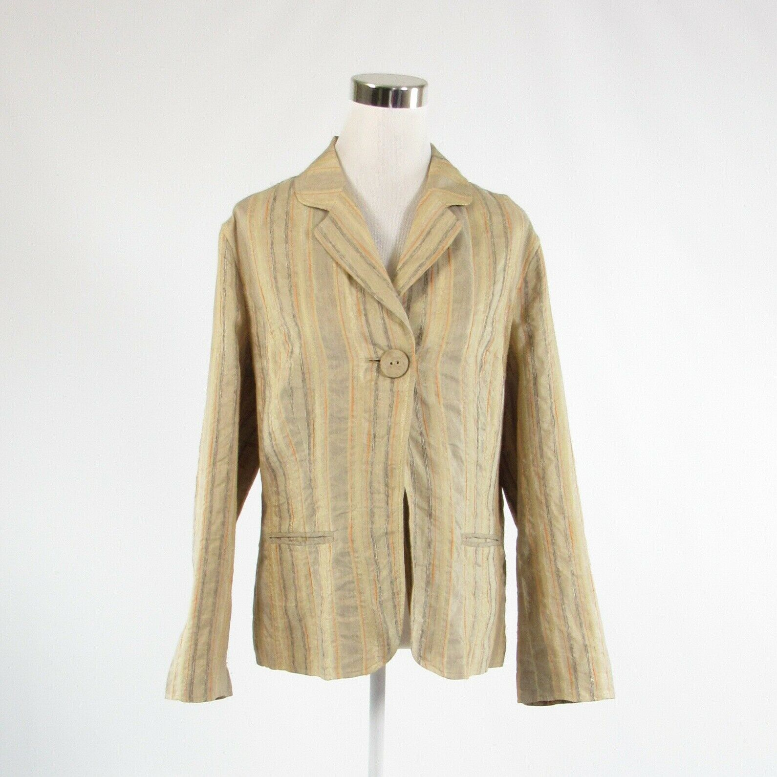 Beige taupe uneven striped linen blend J JILL long sleeve blazer jacket L-Newish
