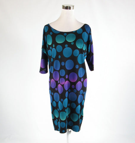 Black green circles 100% silk DIANE VON FURSTENBERG sheath dress 10
