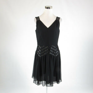 Black ANTONIO MELANI sheer overlay sleeveless A-line dress 8