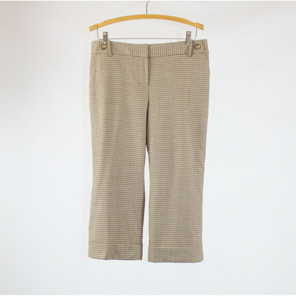 Light beige brown houndstooth wool blend ANN TAYLOR cuffed hem cropped pants 10P