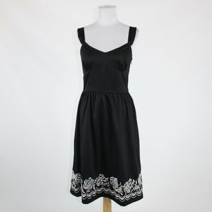 Black white embroidered cotton ANN TAYLOR LOFT sleeveless knee-length dress 4