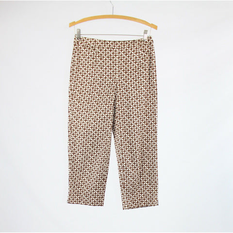 Brown ivory geometric stretch cotton blend TALBOTS cropped pants 4