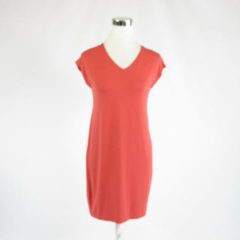 Coral orange EILEEN FISHER stretch cap sleeve sheath dress P PT-Newish