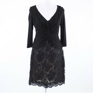 Black floral print lace KEVAN HALL 1/2 sleeve peplum dress 10