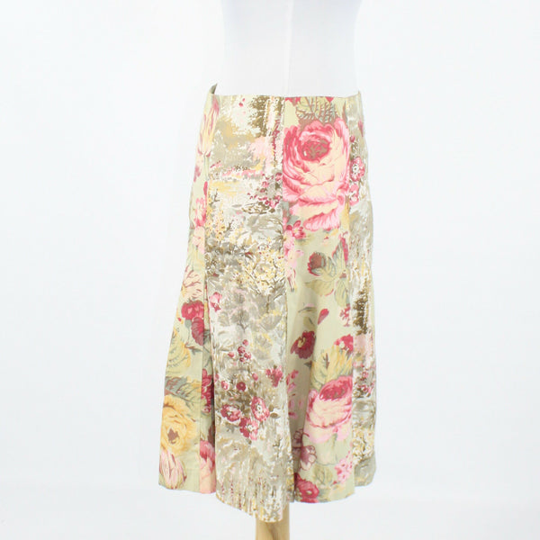 Beige pink yellow floral print 100% cotton ELEVENSES pleated knee length skirt 2-Newish