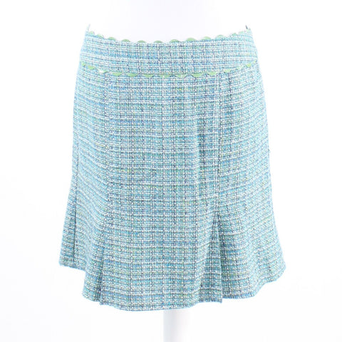 Blue green ivory tweed NANETTE LEPORE pleated skirt 8