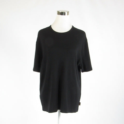Black PERRY ELLIS stretch short sleeve knit blouse M-Newish