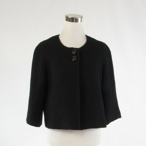 Black textured 100% wool BANANA REPUBLIC 3/4 sleeve bolero jacket 10