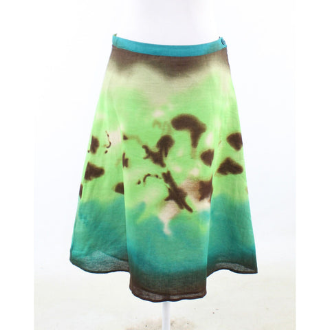 Teal green brown geometric 100% linen LILY STANHOPE A-line skirt 4