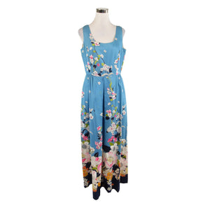 Blue floral cotton ELFRIEDE FOR MITCH ROBERT sleeveless vintage maxi dress 14 M-Newish