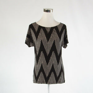Dark brown ivory chevron CHICO'S Travelers stretch short sleeve blouse 0 XS 4