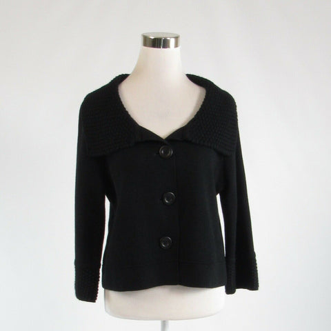 Black wool blend waffle knit CABI 3/4 sleeve cardigan sweater M