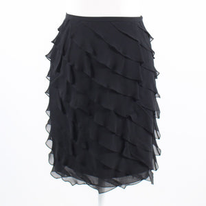 Black sheer overlay 100% silk TERI JON Rickie Freeman diagonal tiered skirt 2